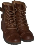 Brown Bamboo Combat Boots from Charlotte Russe